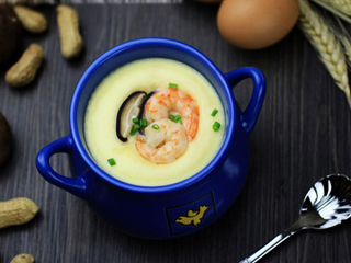 Mushrooms shrimp egg custard